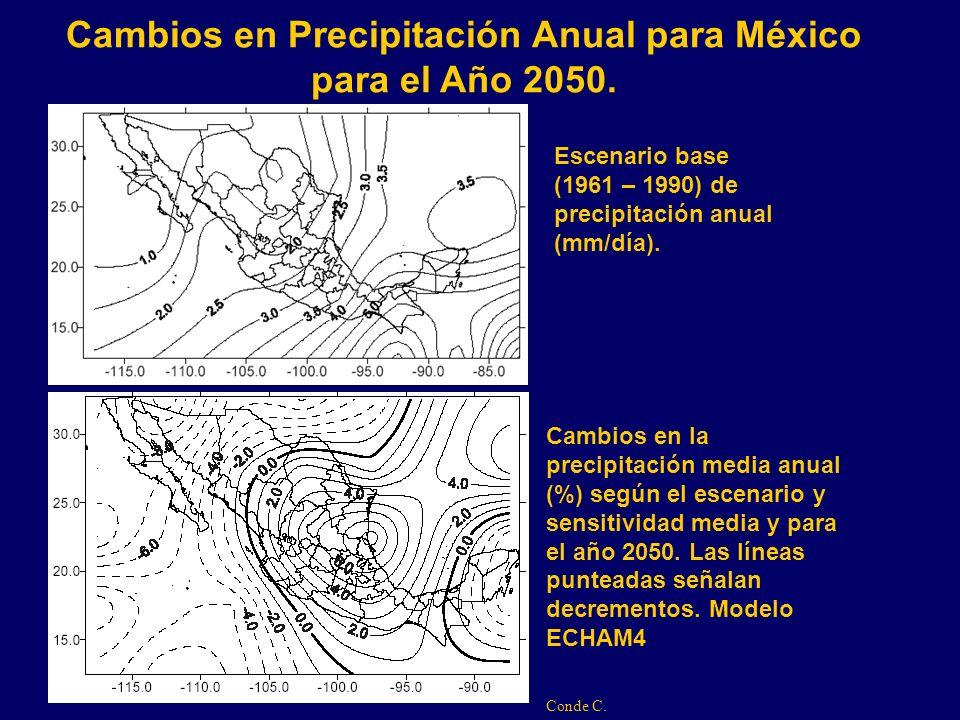 Cambios en Precipitación Anual para México para el Año 2050.
