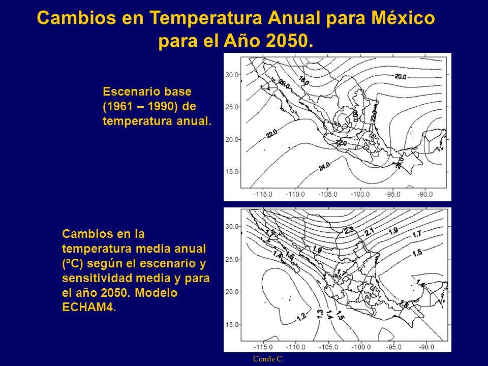 Cambios en Temperatura Anual para México para el Año 2050.