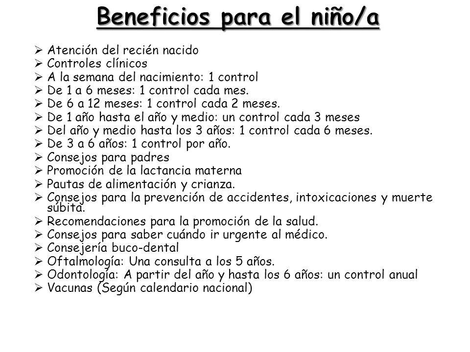 Beneficios para el niño/a