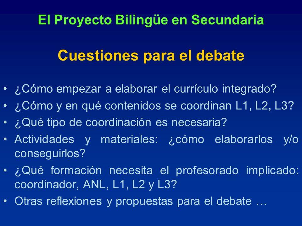 El Proyecto Bilingüe en Secundaria