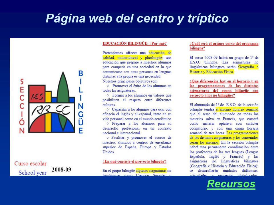 Página web del centro y tríptico