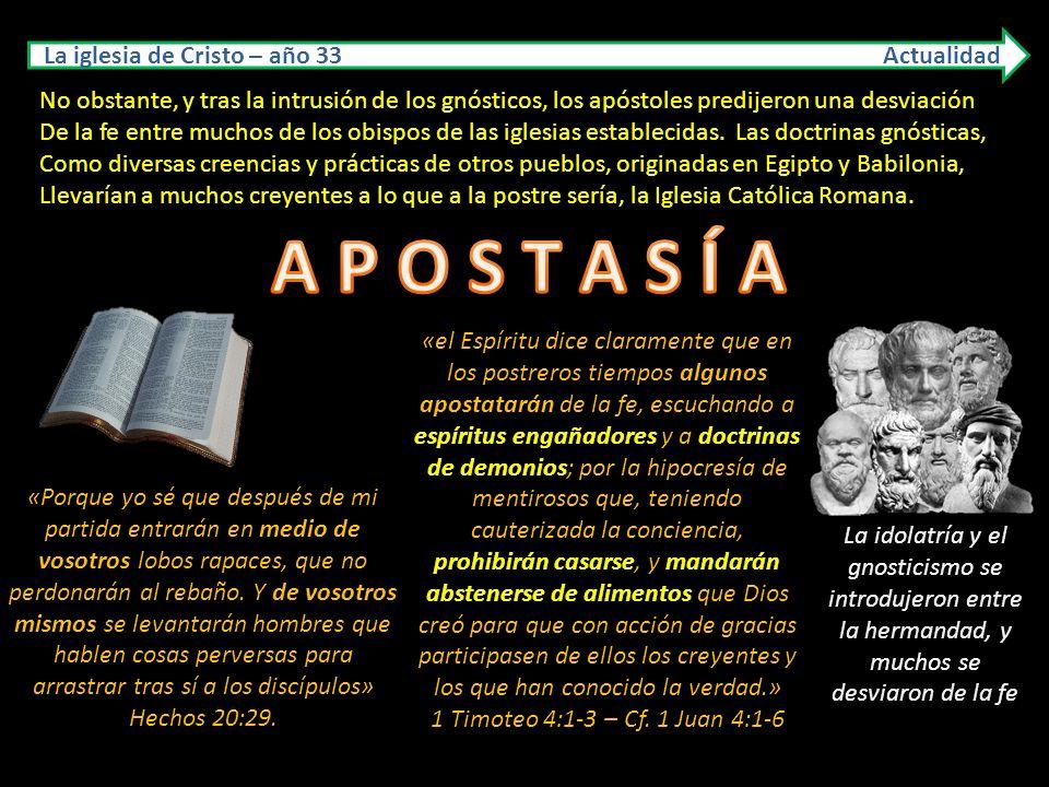 La iglesia de Cristo – año 33 Actualidad