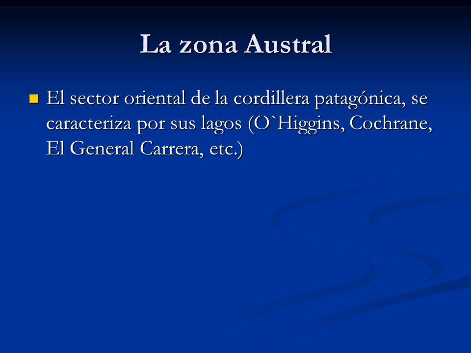 La zona Austral El sector oriental de la cordillera patagónica, se caracteriza por sus lagos (O`Higgins, Cochrane, El General Carrera, etc.)