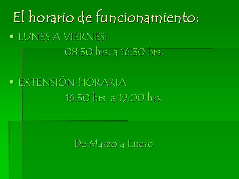 El horario de funcionamiento: