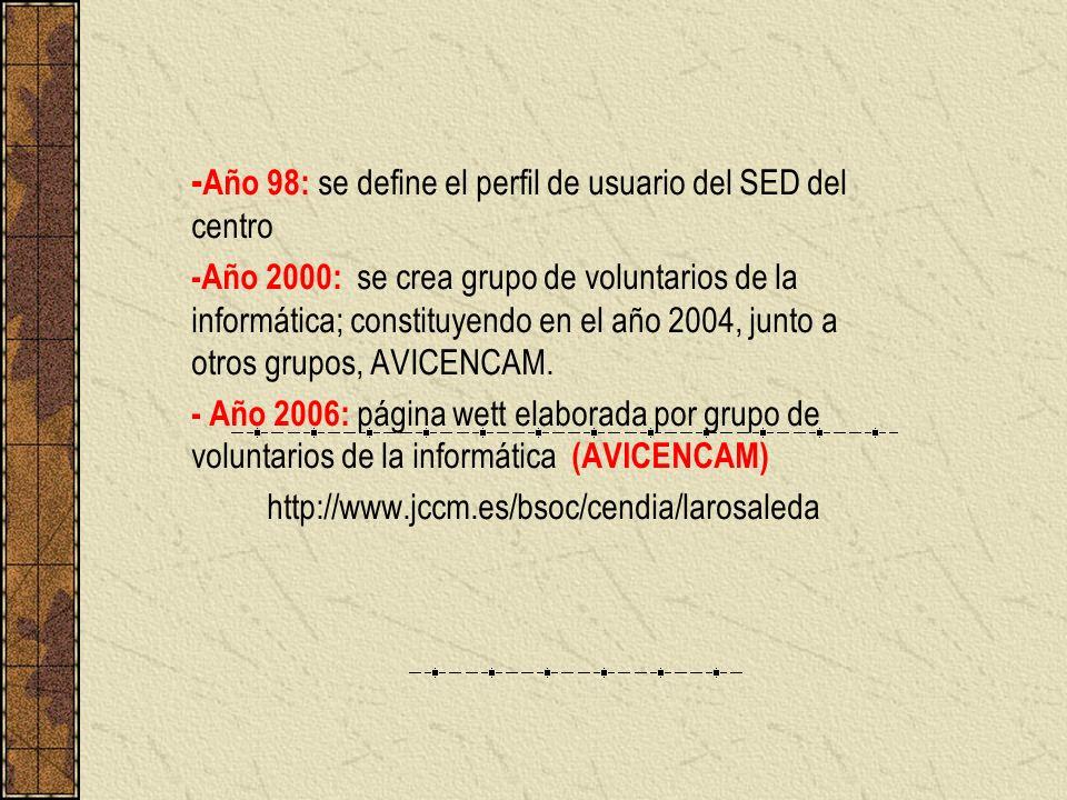 -Año 98: se define el perfil de usuario del SED del centro