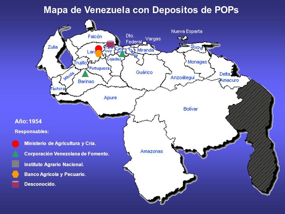 Mapa de Venezuela con Depositos de POPs