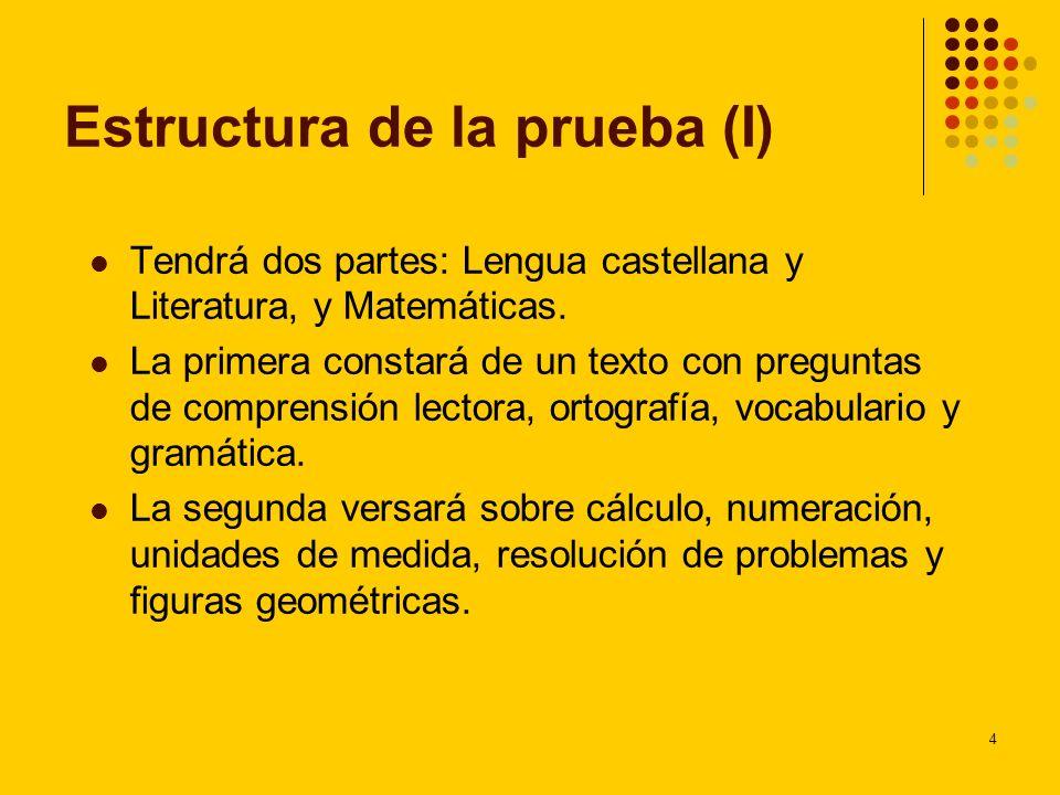 Estructura de la prueba (I)