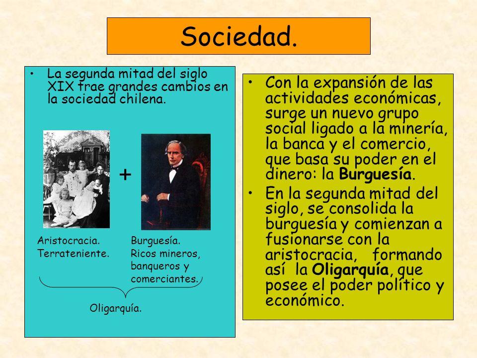Sociedad. La segunda mitad del siglo XIX trae grandes cambios en la sociedad chilena.