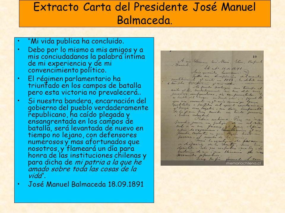 Extracto Carta del Presidente José Manuel Balmaceda.