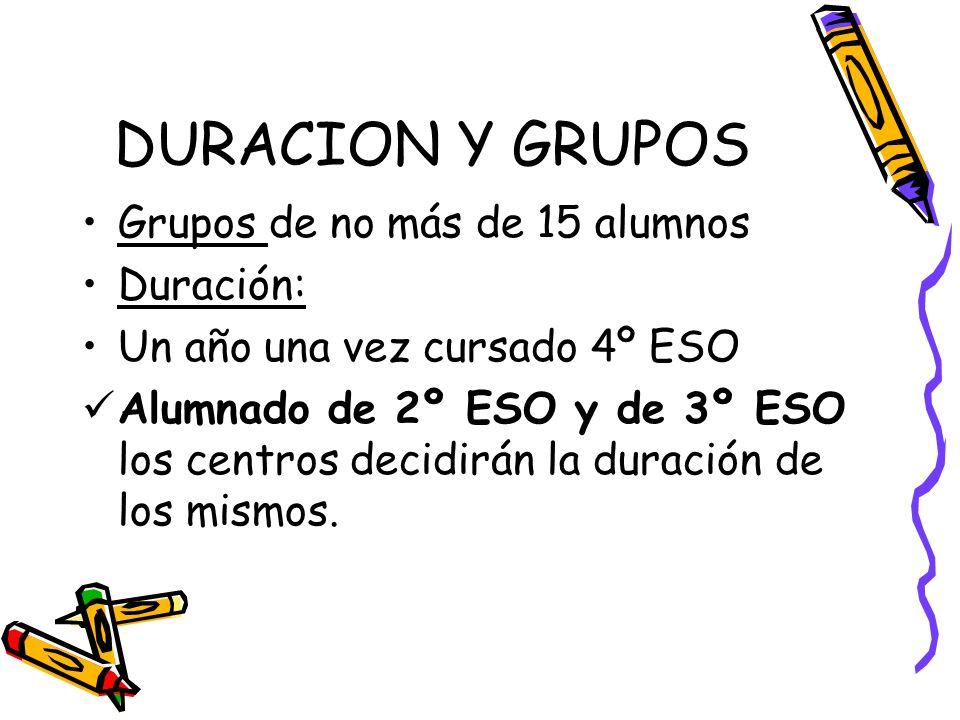 DURACION Y GRUPOS Grupos de no más de 15 alumnos Duración: