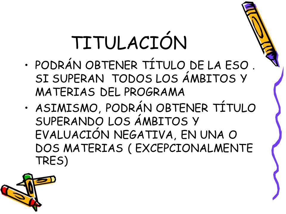 TITULACIÓN PODRÁN OBTENER TÍTULO DE LA ESO . SI SUPERAN TODOS LOS ÁMBITOS Y MATERIAS DEL PROGRAMA.