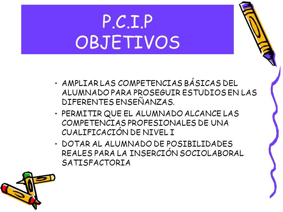 P.C.I.P OBJETIVOSAMPLIAR LAS COMPETENCIAS BÁSICAS DEL ALUMNADO PARA PROSEGUIR ESTUDIOS EN LAS DIFERENTES ENSEÑANZAS.