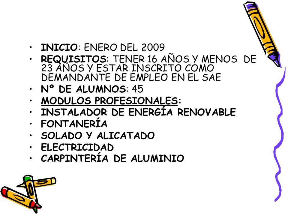 INICIO: ENERO DEL 2009 REQUISITOS: TENER 16 AÑOS Y MENOS DE 23 AÑOS Y ESTAR INSCRITO COMO DEMANDANTE DE EMPLEO EN EL SAE.