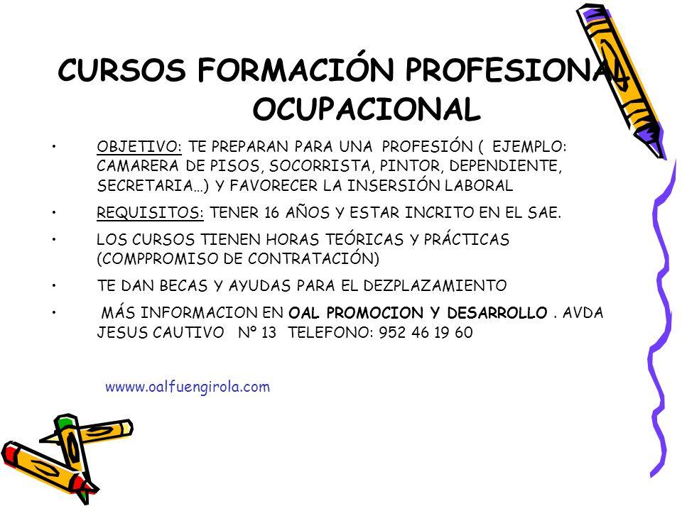 CURSOS FORMACIÓN PROFESIONAL OCUPACIONAL