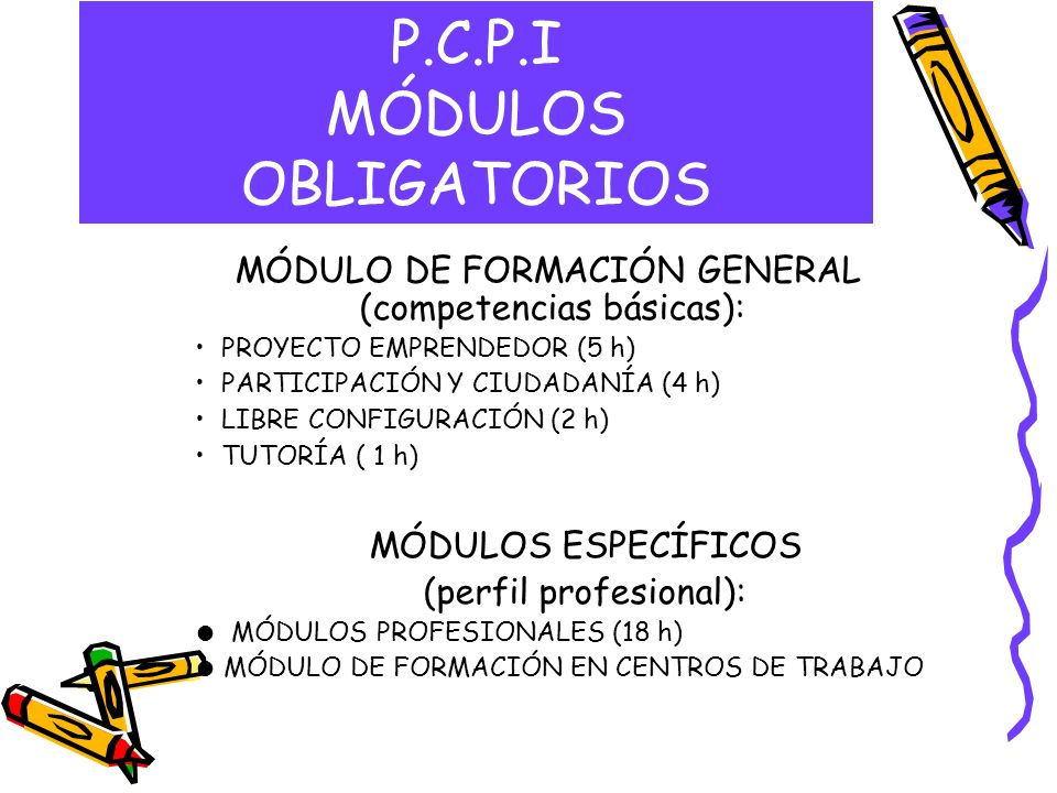 P.C.P.I MÓDULOS OBLIGATORIOS