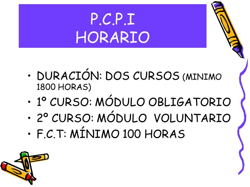 P.C.P.I HORARIO DURACIÓN: DOS CURSOS (MINIMO 1800 HORAS)