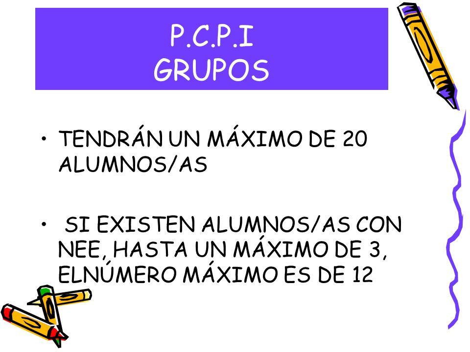 P.C.P.I GRUPOS TENDRÁN UN MÁXIMO DE 20 ALUMNOS/AS