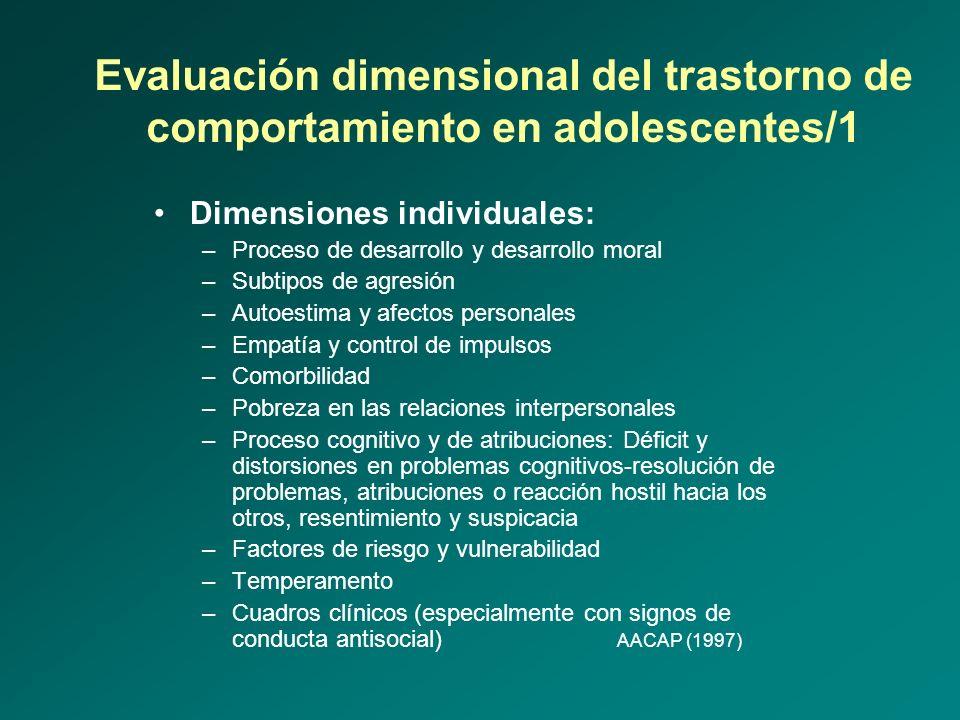Evaluación dimensional del trastorno de comportamiento en adolescentes/1