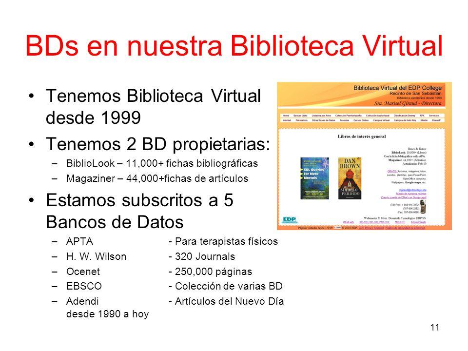 BDs en nuestra Biblioteca Virtual