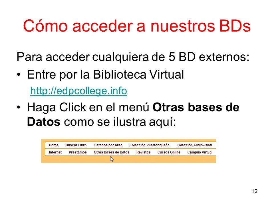 Cómo acceder a nuestros BDs