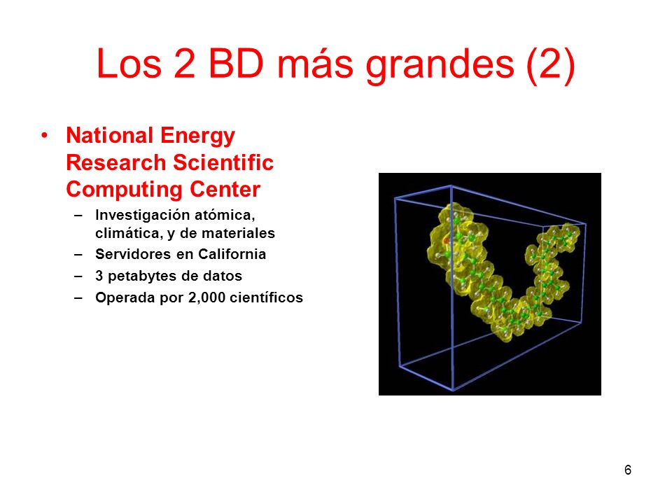 Los 2 BD más grandes (2) National Energy Research Scientific Computing Center. Investigación atómica, climática, y de materiales.