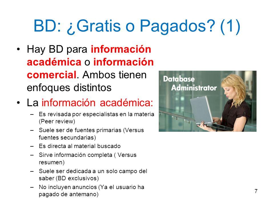 BD: ¿Gratis o Pagados (1)