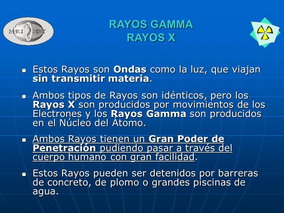 RAYOS GAMMA RAYOS X Estos Rayos son Ondas como la luz, que viajan sin transmitir materia.