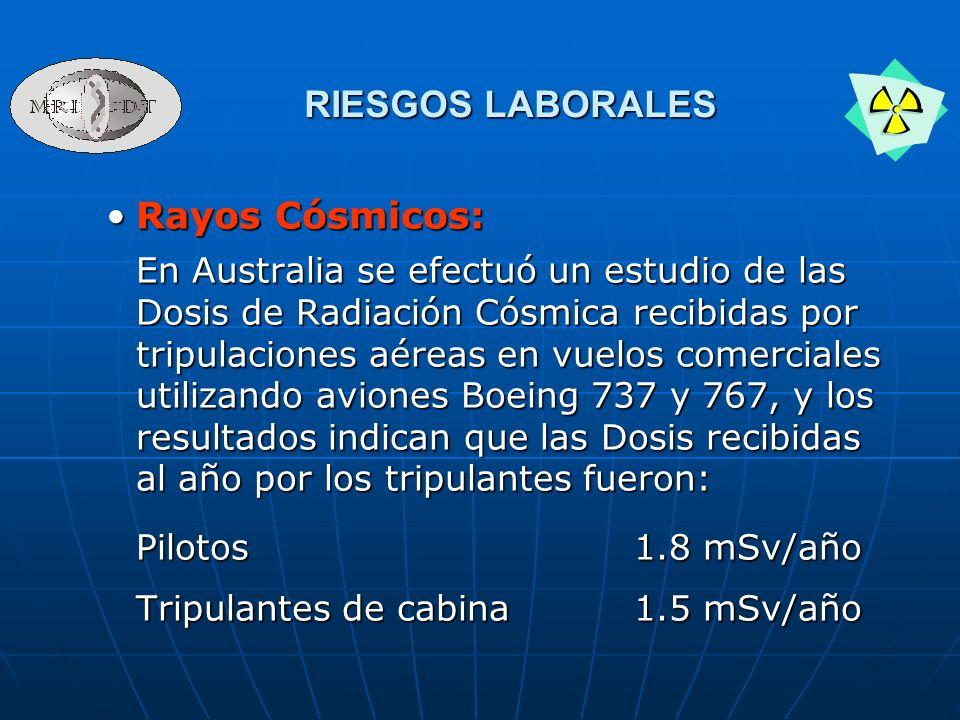RIESGOS LABORALES Rayos Cósmicos: