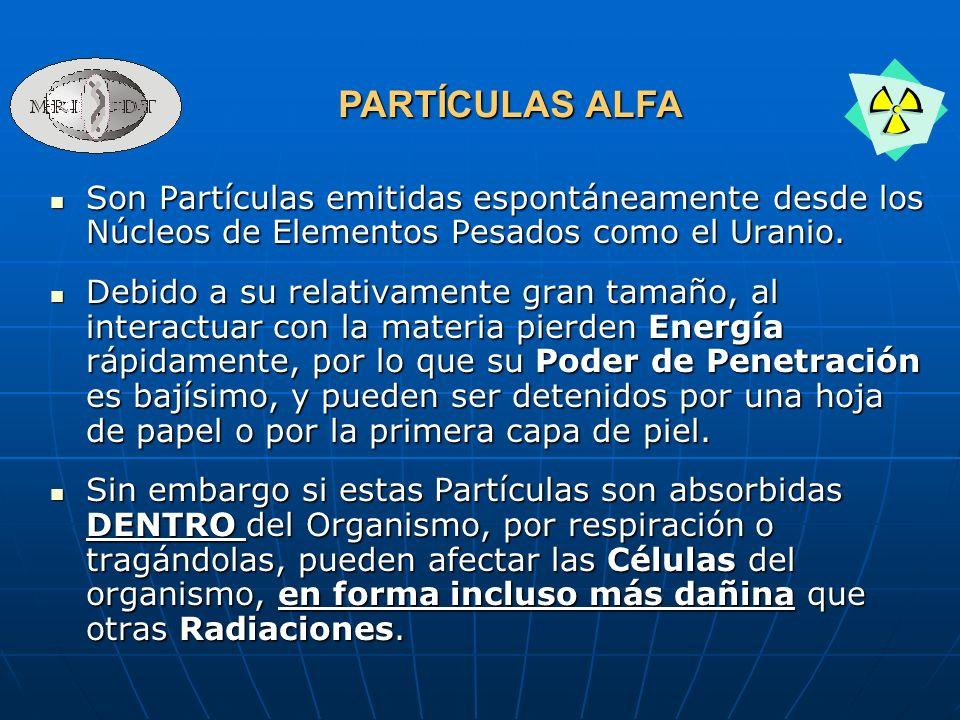 PARTÍCULAS ALFASon Partículas emitidas espontáneamente desde los Núcleos de Elementos Pesados como el Uranio.