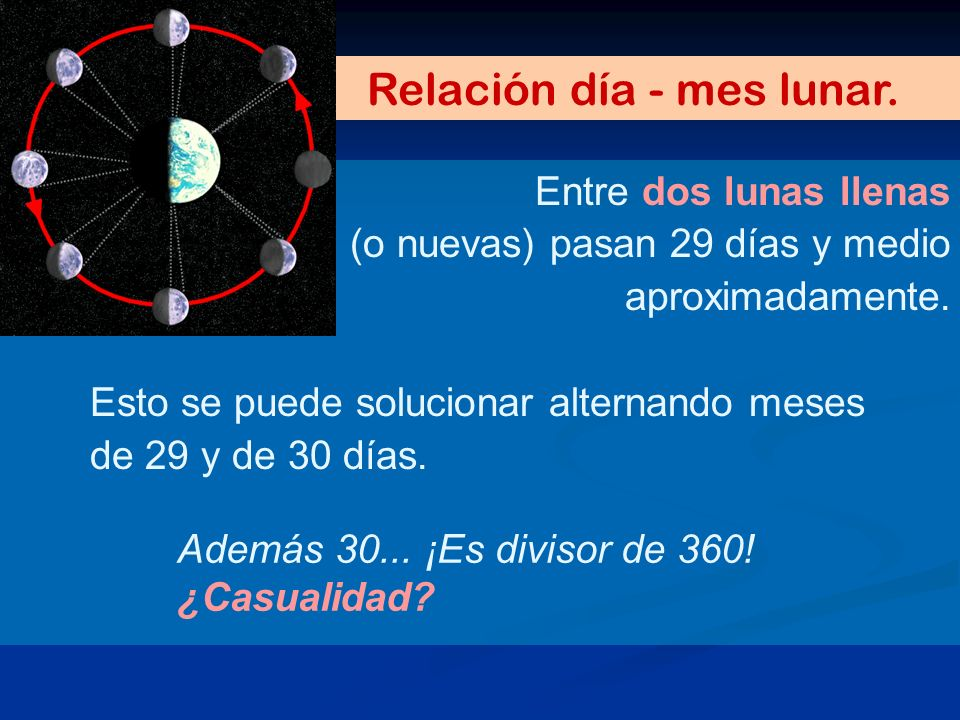 Relación día - mes lunar.