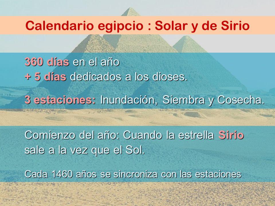 Calendario egipcio : Solar y de Sirio