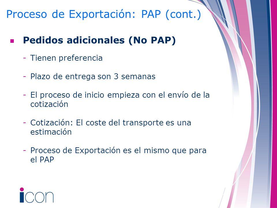 Proceso de Exportación: PAP (cont.)