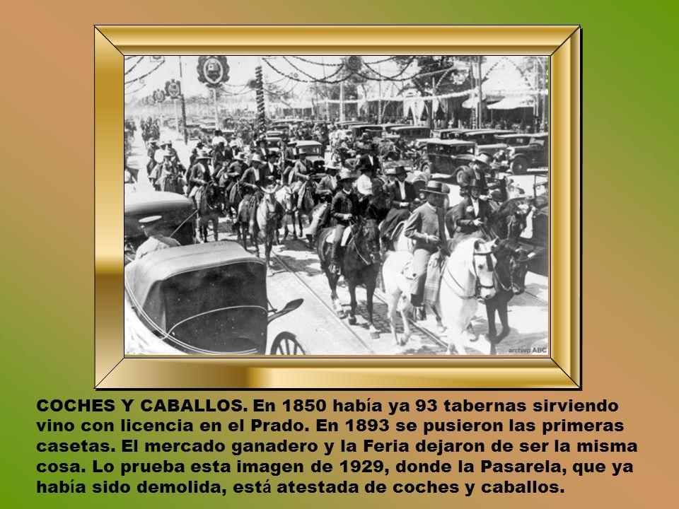 COCHES Y CABALLOS. En 1850 había ya 93 tabernas sirviendo vino con licencia en el Prado.