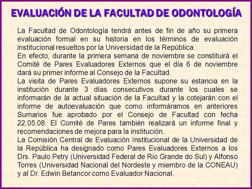 EVALUACIÓN DE LA FACULTAD DE ODONTOLOGÍA