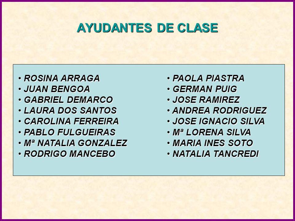 AYUDANTES DE CLASE ROSINA ARRAGA JUAN BENGOA GABRIEL DEMARCO