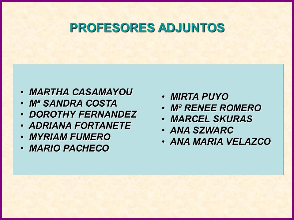 PROFESORES ADJUNTOS MARTHA CASAMAYOU MIRTA PUYO Mª SANDRA COSTA