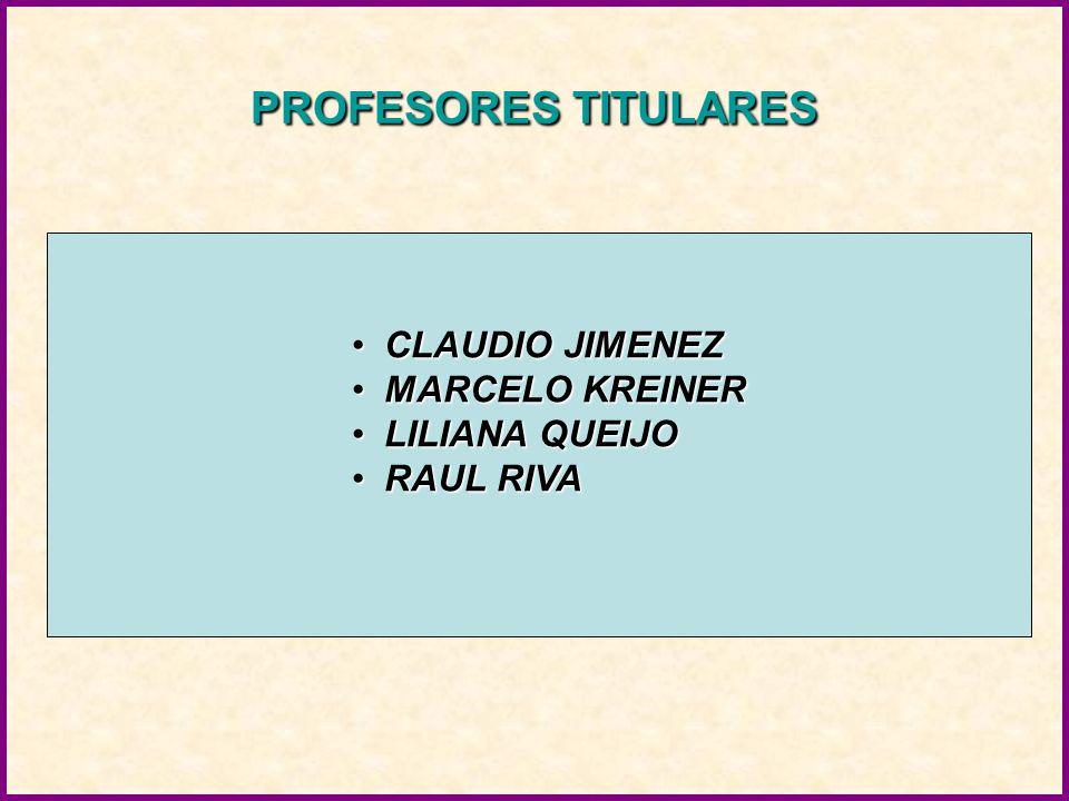 PROFESORES TITULARES CLAUDIO JIMENEZ MARCELO KREINER LILIANA QUEIJO