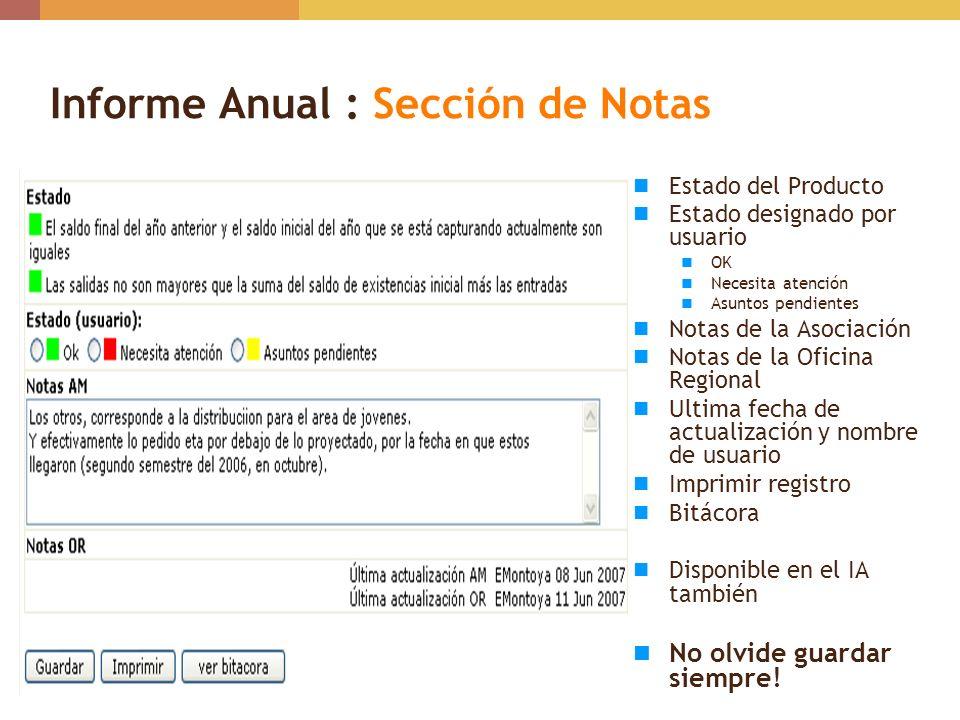 Informe Anual : Sección de Notas