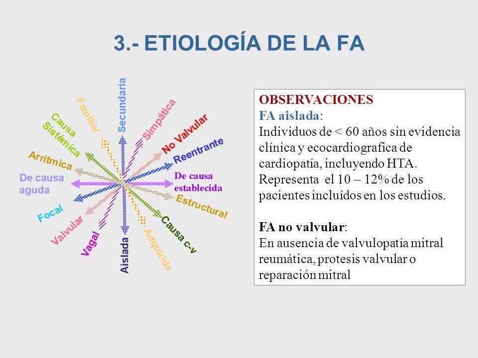 3.- ETIOLOGÍA DE LA FA OBSERVACIONES FA aislada: