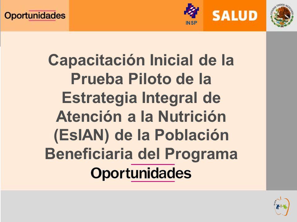 INSP Capacitación Inicial de la Prueba Piloto de la Estrategia Integral de Atención a la Nutrición (EsIAN) de la Población Beneficiaria del Programa.