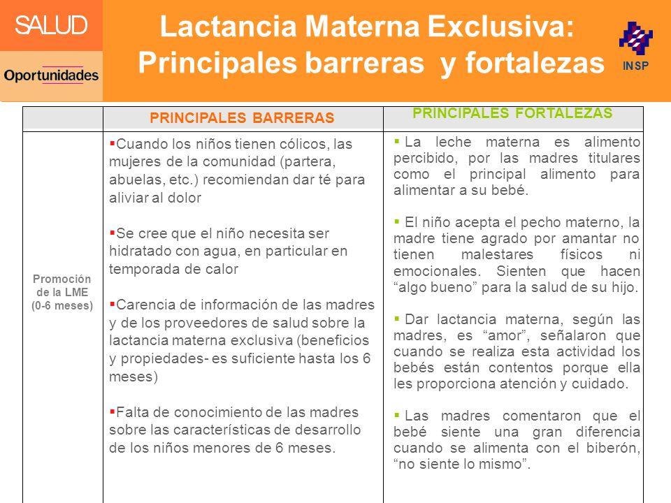 Lactancia Materna Exclusiva: Principales barreras y fortalezas