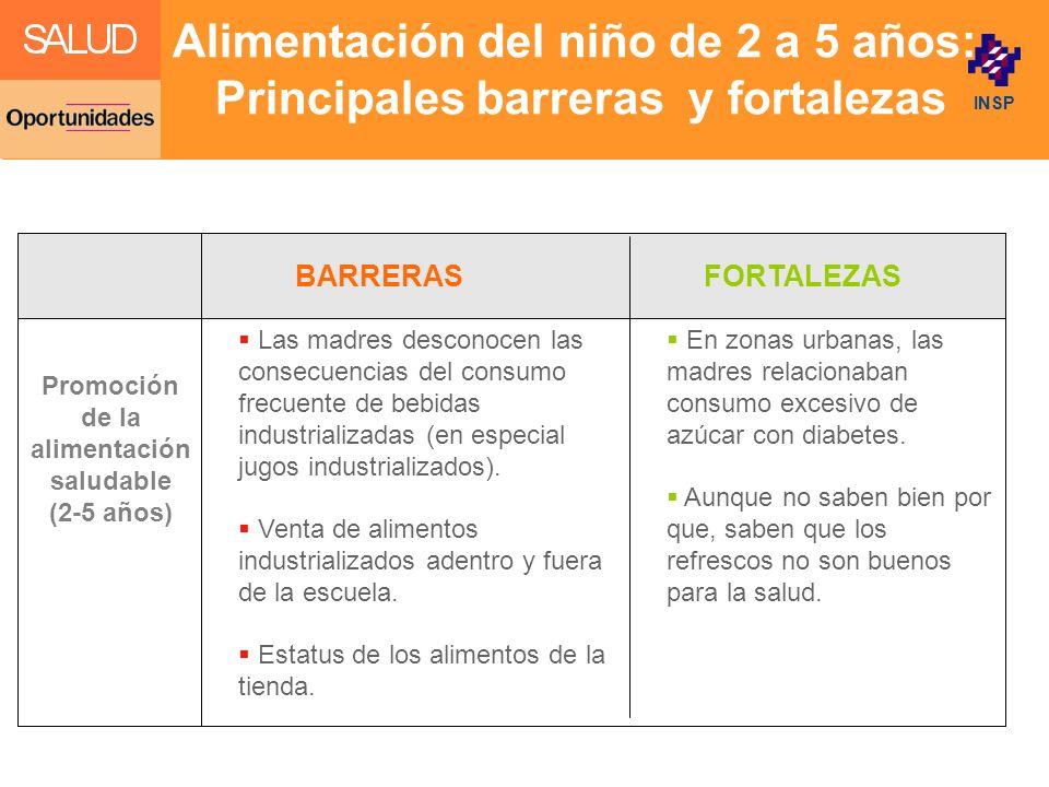 Alimentación del niño de 2 a 5 años: Principales barreras y fortalezas