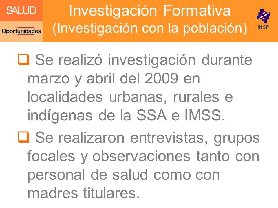 Investigación Formativa (Investigación con la población)