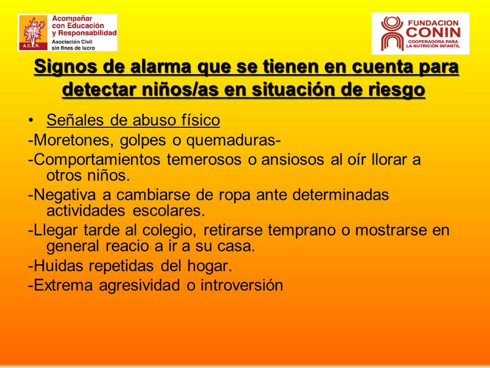 Signos de alarma que se tienen en cuenta para detectar niños/as en situación de riesgo