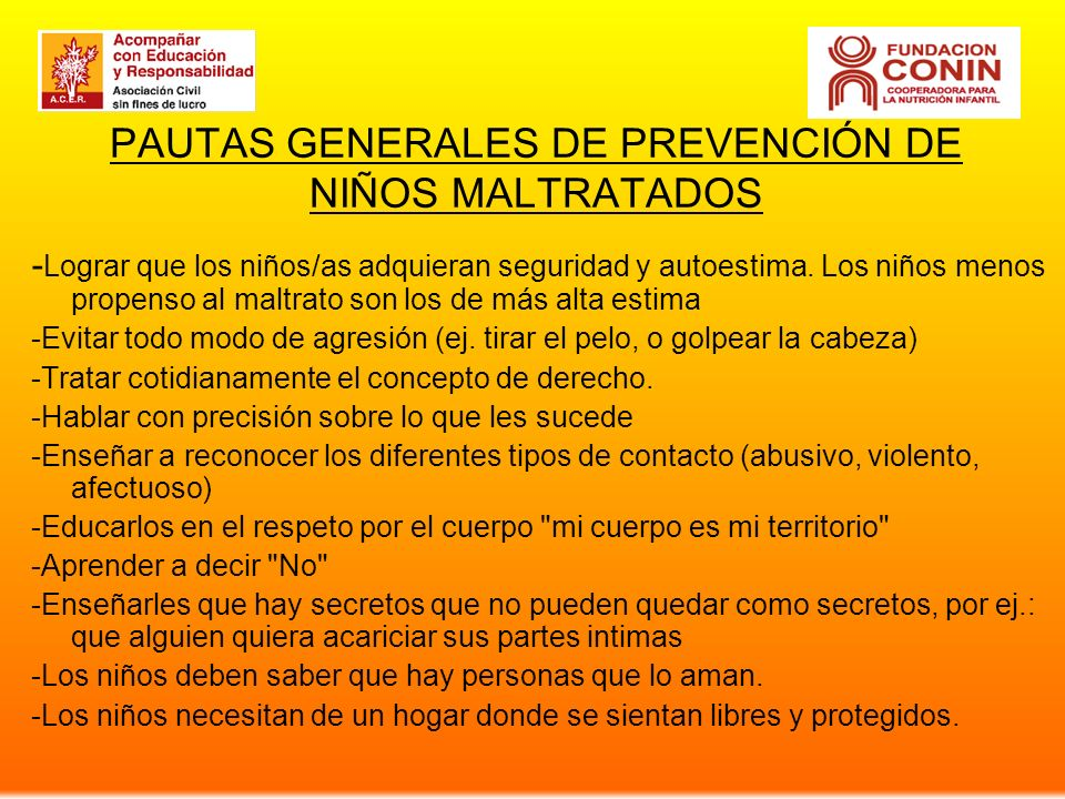 PAUTAS GENERALES DE PREVENCIÓN DE NIÑOS MALTRATADOS