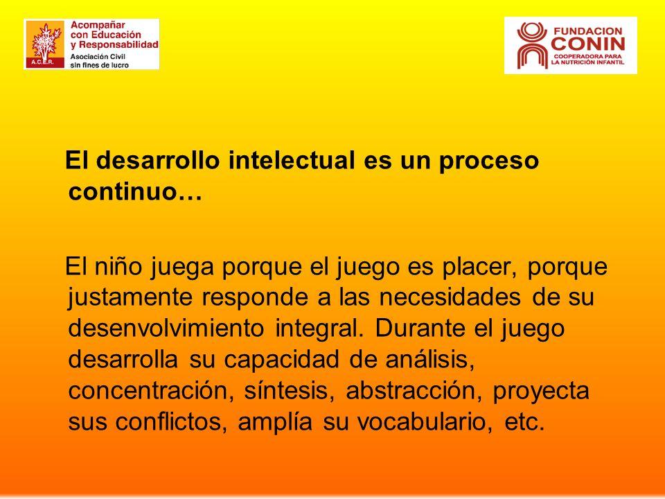El desarrollo intelectual es un proceso continuo…