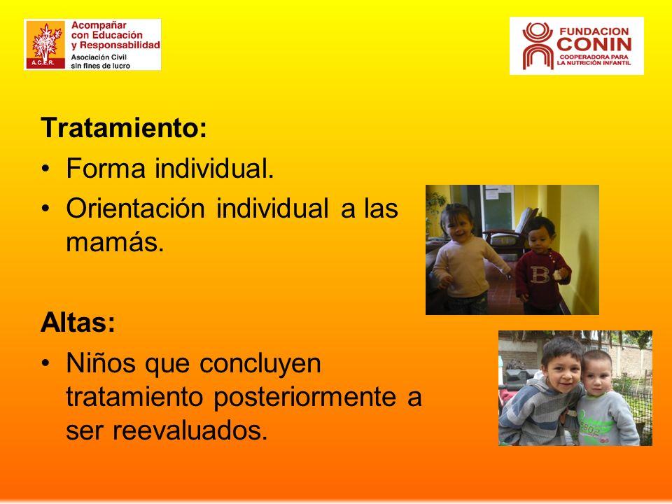 Tratamiento: Forma individual. Orientación individual a las mamás.