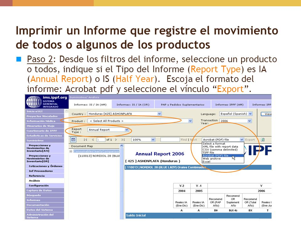 Imprimir un Informe que registre el movimiento de todos o algunos de los productos
