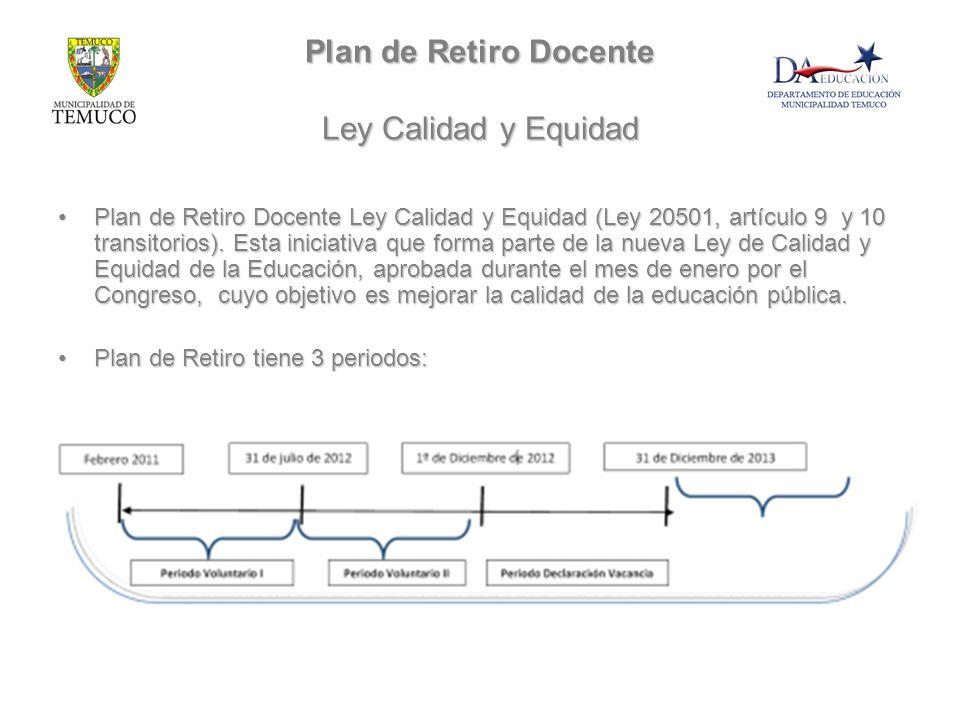 Plan de Retiro Docente Ley Calidad y Equidad