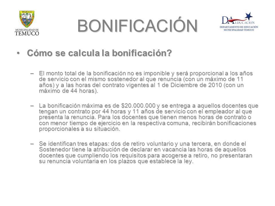 BONIFICACIÓN Cómo se calcula la bonificación